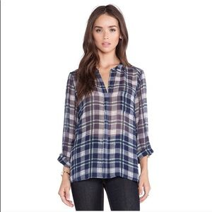 Joie Nura plaid flannel silk blouse